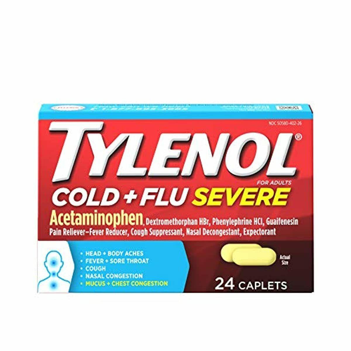 tylenol cold flu severe medicine caplets
