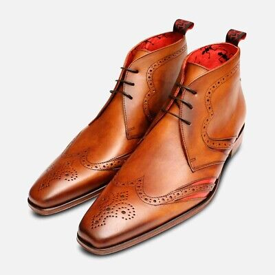 Jeffery West Brogue Chukka Boots in Tan & Red Leather