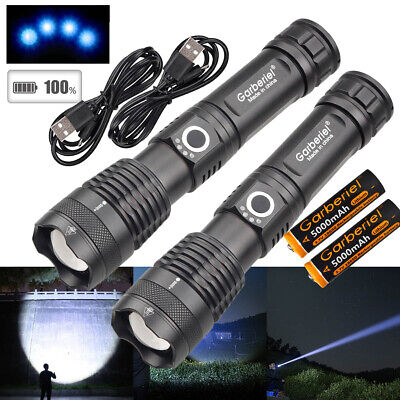 990000LM Zoomable XHP50 5 Modes LED USB Rechargeable 18650 26650 Flashlight Lamp