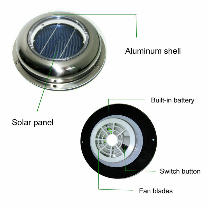 SOLAR VENT FAN EXTRACTOR VENTILATOR FOR GREEN HOUSE CONSERVATORY HOME SHED