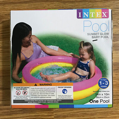 New Intex Sunset Glow Kiddie   Baby Inflatable Pool For Water Play   34  X 10