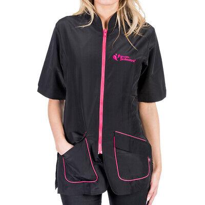 Groom Professional Milano Dog Grooming Hair Free Jacket, Black/Pink Dog Grooming Jackets