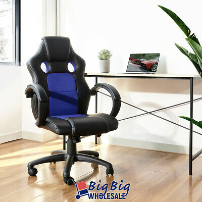 Gaming Racing Leather Office Chair Swivel Ergonomic Computer Desk Seat Blkblue