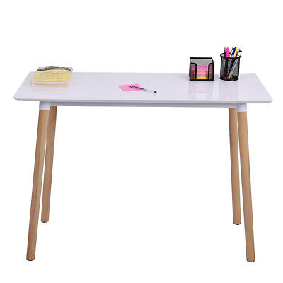 White Writing Desk Computer Table Home Office Furniture Workstation Learning New