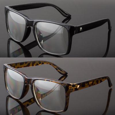 Large Oversized Vintage Glasses Clear Lens Thick Frame Nerd Glasses Retro BLACK
