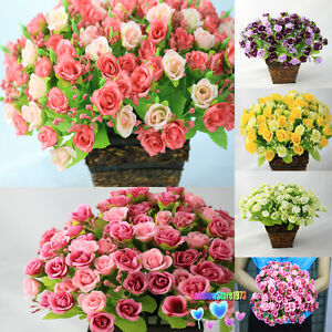 126-pcs-Roses-6-Bouquets-Artificial-Silk-Flower-Floral-Bouquet-Wedding-F37