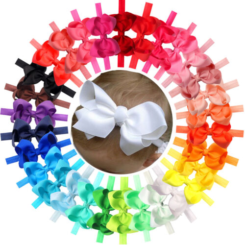 """30Pc Lot Baby Girls 4.5"""" Hair Bows Headbands for Infant Todd"""