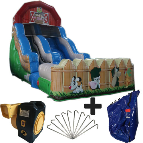 New 18ft High Farm Commercial Inflatable Bounce House Water Slide