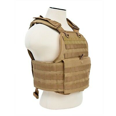 NcStar TAN Police Military Tactical MOLLE / PALs Adj Plate Carrier Vest