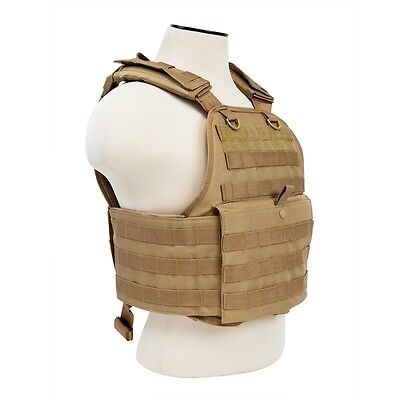 Military Tactical Vest - NcStar TAN Police Military Tactical MOLLE / PALs Adj Plate Carrier Vest