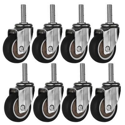 8 Pack 2 Inch Stem Caster Wheel Swivel Plate Black Rubber Caster Wheels