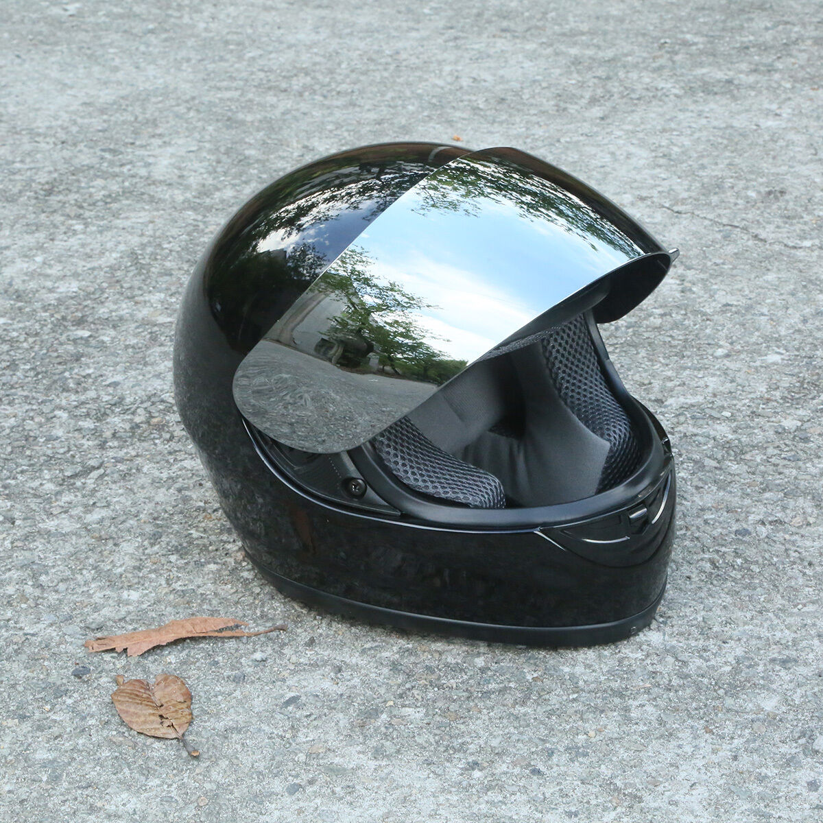 Hot-Gloss-Black-Full-Face-Mirror-Visor-S