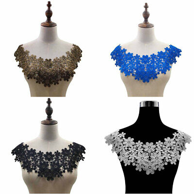 Embroidered Neckline (Floral Lace Embroidered Neckline Neck Collar Trim Clothes Sewing Applique Patch )