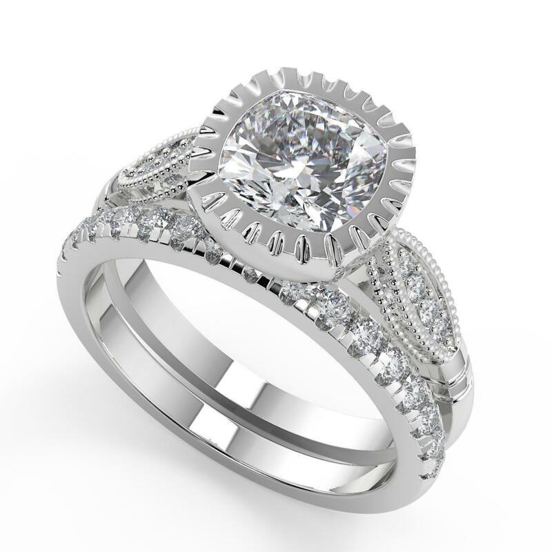 1.7 Ct Cushion Cut 4 Prong Solitaire Diamond Engagement Ring Set Vs2 F 14k