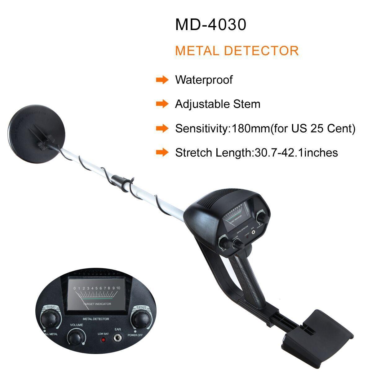 "MD-4030 6.5"" Metal Detector Waterproof Deep Sensitive Search Gold Digger Hunter"