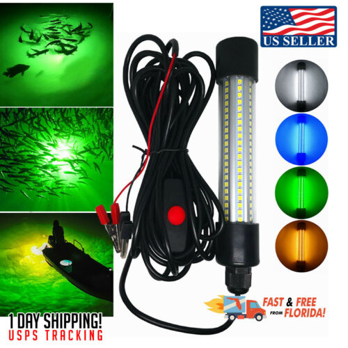 Night Fishing Boat Light 12V LED Underwater Submersible Lamp Crappie Shad Squid