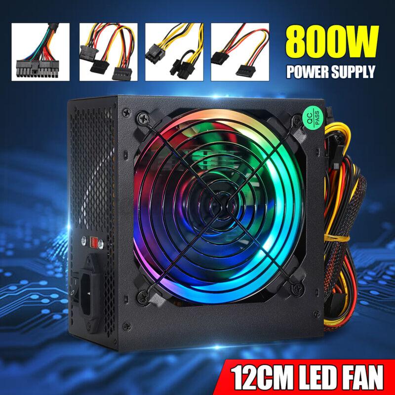 800W LED Fan Silent Gaming Power Supply 24 Pin Computer ATX PSU PCI 12V U