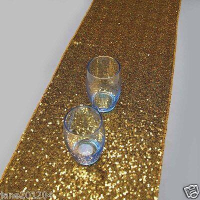 Gold Wholesale Elegant 12''*84'' Sequin Table Runner for wedding on sale