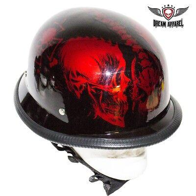 German Novelty Motorcycle Helmet Horned Skeleton Gloss Burgundy-ALL SIZES