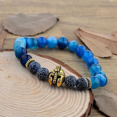 Men's Black Lava Stone Blue&Grid Spartan Helmet Bracelet Beaded Charm Bracelets