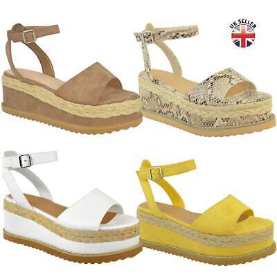 Womens Flat Wedge Summer Sandals Flatform Espdrilles Ankle Lace Tie Up Platform Lace Up Platform Sandal