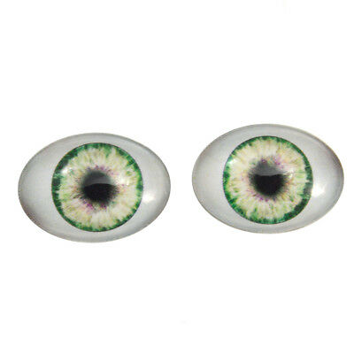 Oval Glass Doll - 18x25mm Green Doll Oval Glass Eyes - Fantasy Dolls Art Pair with Whites Flatback