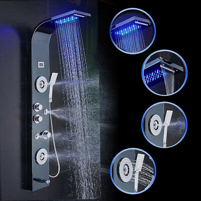 Stainless Steel Shower Panel Tower LED Rain Waterfall Massage System Body Jets