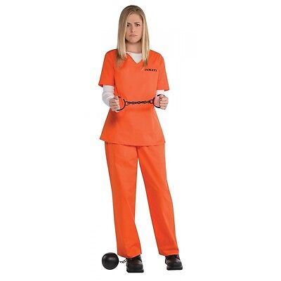 Orange Inmate Costume Adult Prisoner Convict Halloween Fancy Dress (Prisoner Halloween Costume Women)