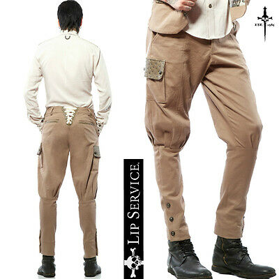 LIP SERVICE STEAMPUNK GOTHIC PANTS JODHPUR EBM CANVAS BREECHES MILITARY TROUSERS Clothing, Shoes & Accessories