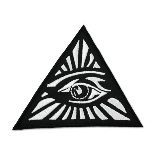 All Seeing Eye Triangle Embroidered Masonic Patch - [Black & White][3