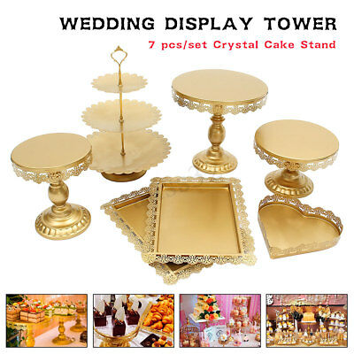US 7Pcs Wedding Cake Stand Crystal Decor Metal Cupcake Holder Crystal Plates - Decorative Cupcake Holders