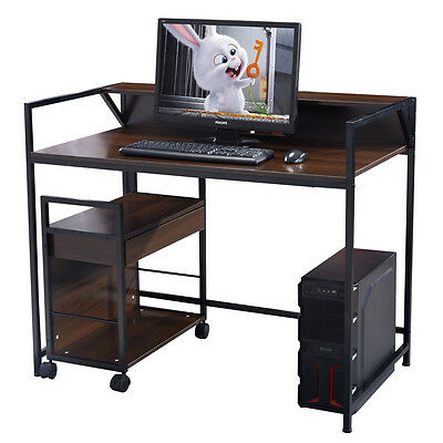 Computer Desk Workstation Table Study Home Office Furniture Wood w/ File Cabinet
