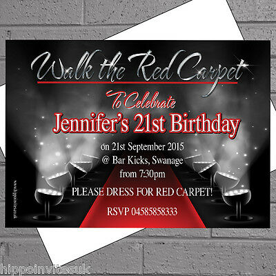 Hollywood Themed Birthday Invitations (Hollywood Red Carpet Themed Birthday Party Invitations x 50 + envs)