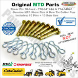738-04124A 10 Pack Shear Pins & Cotters Cub Cadet / MTD / Troy Bilt 714-04040