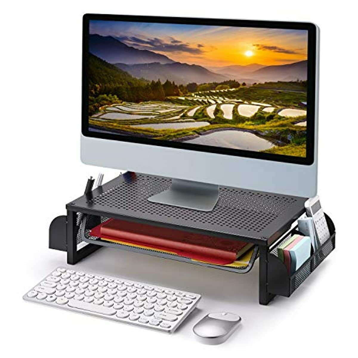 Details about Simple Trending Metal Monitor Riser Stand and Computer Desk  Organizer with Drawe