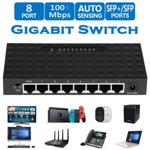 Mini Ethernet Network Desktop for Switch 8Port 10/100Mbps La