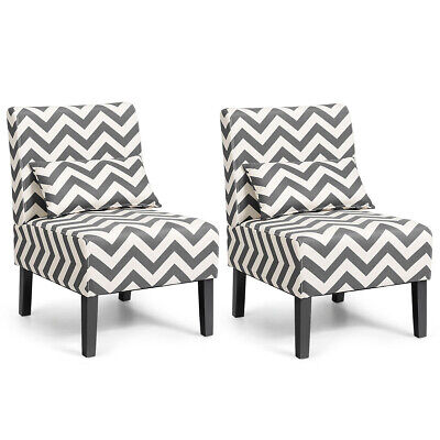 Set of 2 Armless Accent Chair Living Room Chair with Lumbar Pillow Gray Chevron