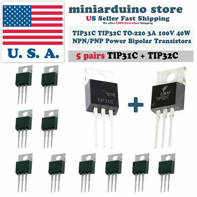 5pairs New Tip31ctip32c Npn Pnp 3a 100v Transistor To-220 Bipolar