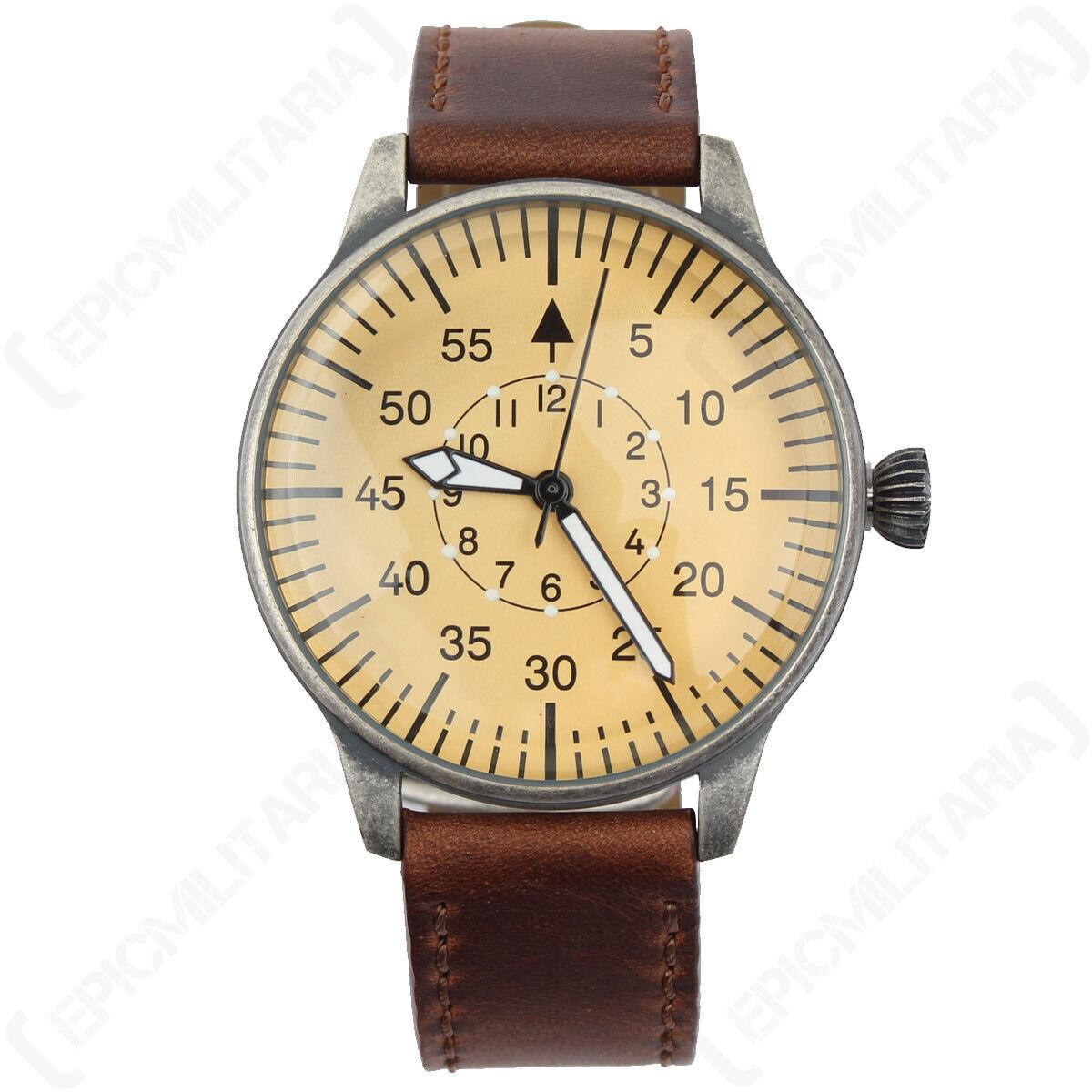 Luftwaffe Pilot Watch  Vintage WW2 German Military Wristwatch Leather Strap