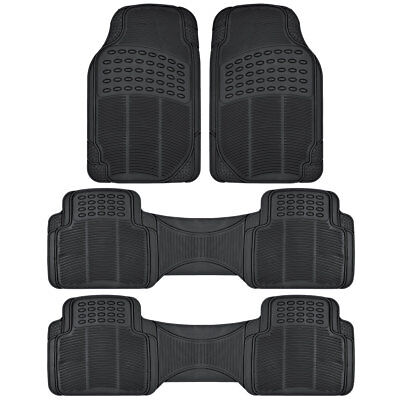 All Weather Rubber Car Floor Mats 3 Row Coverage for Chevrolet Traverse   Black