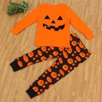 2Pcs Toddler Kids Baby Boy Girl Pumpkin T-shirt Tops+Pants Outfits Halloween Set](Halloween Pumpkin Toddler Shirt)