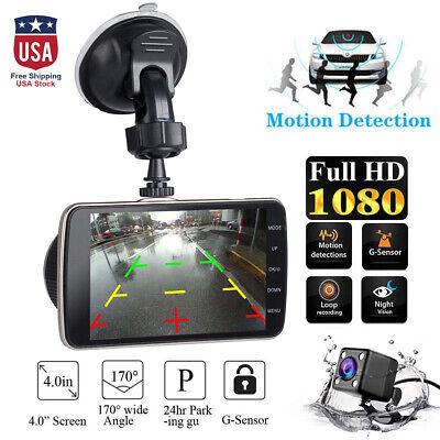 4'' HD 1080P Car DVR Camera Dash Cam Car Truck Dual Lens Video Recorder G-Sensor