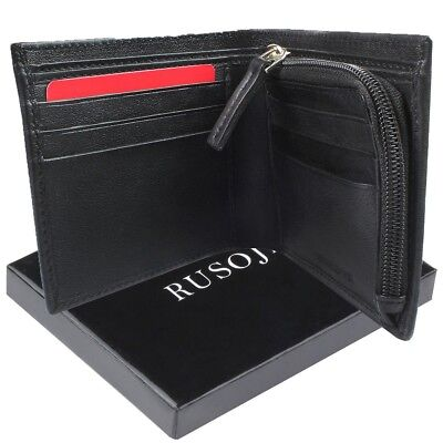 Mens Genuine Leather Bifold Wallet with Zipper Coin Compartment Gift Box
