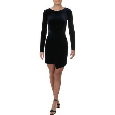 Aqua Womens Velvet Knot-Front Long Sleeves Cocktail Dress BHFO 4473 Long Sleeve Knot Front Dress