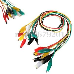 10Pcs Alligator Crocodile Clip Test Leads Jumper Cable Wire Colored Double-Ended