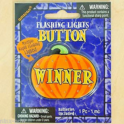 Halloween Pumpkin Winner Badge Button with Lights (Winner Halloween)
