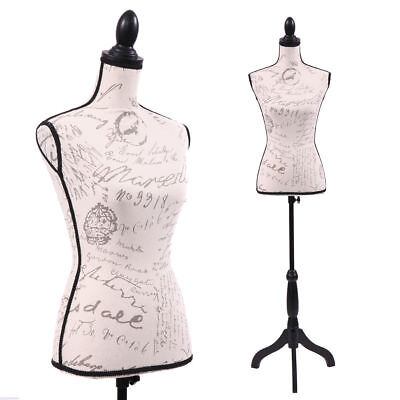 Female Mannequin Torso Designer Pattern Dress Form Display W/Black Tripod Stand