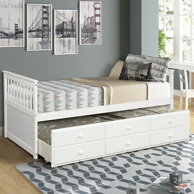 Wood Twin Captain's Bed with Trundle and Storage Drawers Bed Frame White Bed Twin Captains Bed Trundle