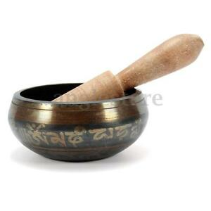 Yoga Chakra Singing Bowl Tibetan Buddhist Brass Meditation With Healing Hammer
