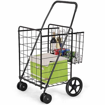 Folding Shopping Cart Jumbo Basket Grocery Laundry Travel W Swivel Wheels New